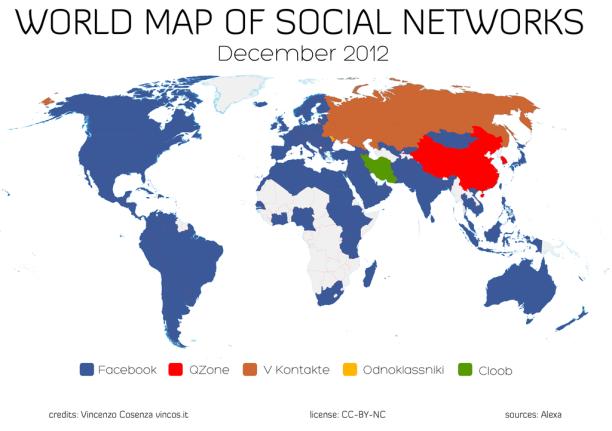 Mapa Mundi de Redes Sociales